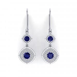 Monte Carlo Sapphire Halo Earrings