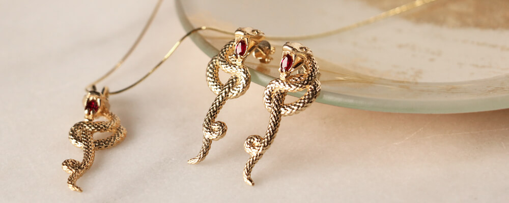 Ruby & Yellow Gold Snake Earrings