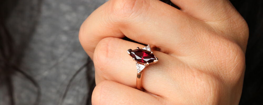 Marquise Ruby Three Stone Ring