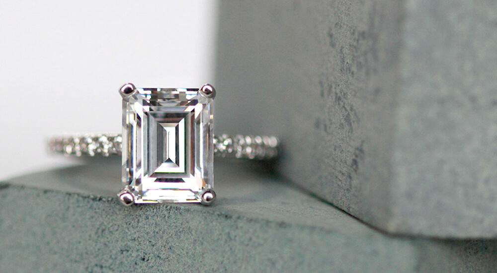 Custom Emerald Cut Rings: Three Stone