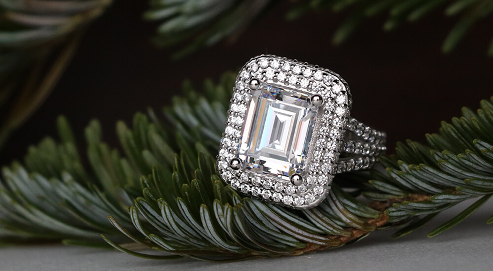 Custom Emerald Cut Rings: Double Halo