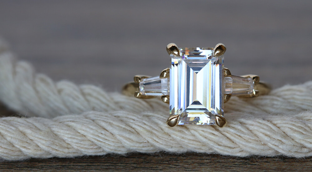 Custom Emerald Cut Rings: Accented Solitaire