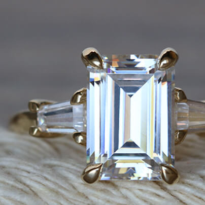 Custom Emerald Cut Rings