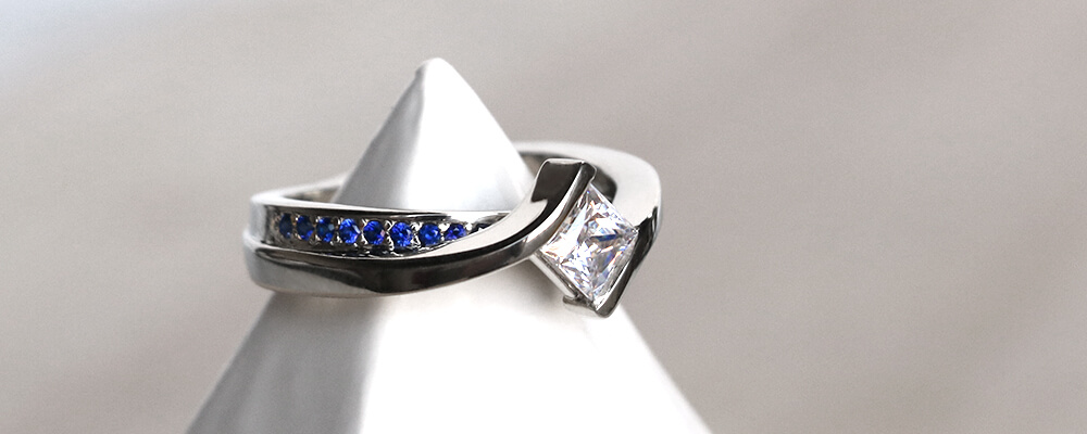 Sapphire in September: Flowing River Band, Sapphire Accented Band