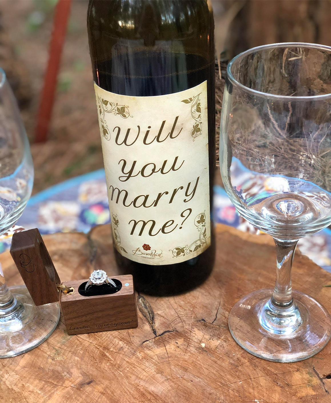 A custom wine bottle, perfect for a proposal