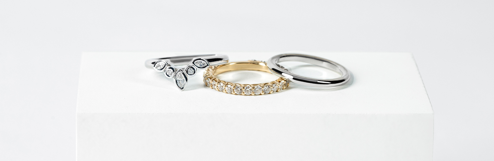Stackable rings and wedding bands compared side by side